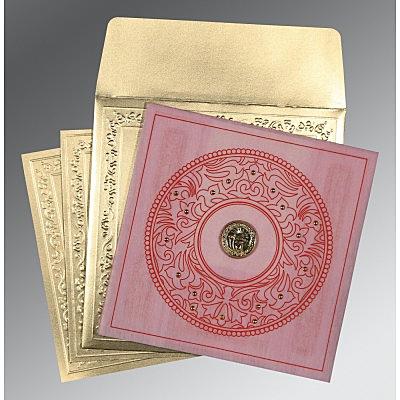 Pink Wooly Screen Printed Wedding Invitations : S-8214F - 123WeddingCards