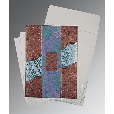 Purple Handmade Shimmer Foil Stamped Wedding Card : D-1375 - 123WeddingCards