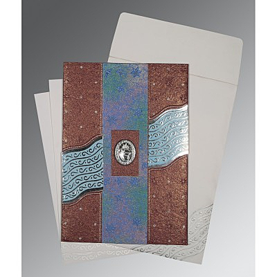 Purple Handmade Shimmer Foil Stamped Wedding Card : RU-1375 - 123WeddingCards