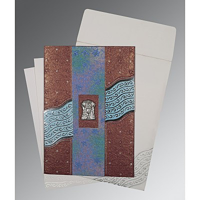 Purple Handmade Shimmer Foil Stamped Wedding Card : SO-1375 - 123WeddingCards