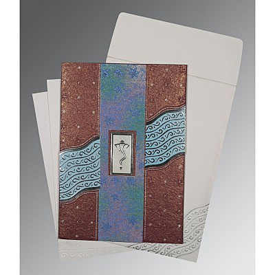 Purple Handmade Shimmer Foil Stamped Wedding Card : W-1375 - 123WeddingCards