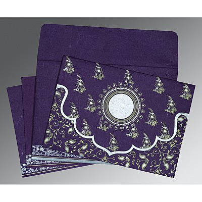 Purple Handmade Silk Screen Printed Wedding Invitation : D-8207G - 123WeddingCards