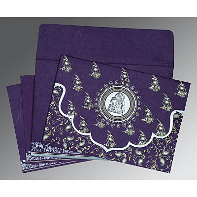 Purple Handmade Silk Screen Printed Wedding Invitation : G-8207G - 123WeddingCards