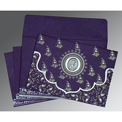 Purple Handmade Silk Screen Printed Wedding Invitation : I-8207G - 123WeddingCards