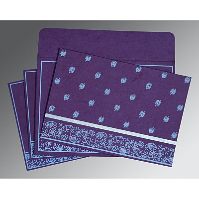 Purple Handmade Silk Screen Printed Wedding Card : I-8215G - 123WeddingCards
