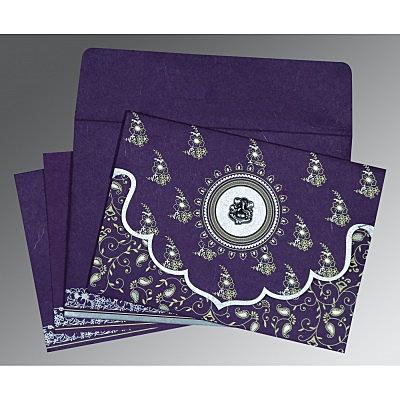 Purple Handmade Silk Screen Printed Wedding Invitation : W-8207G - 123WeddingCards