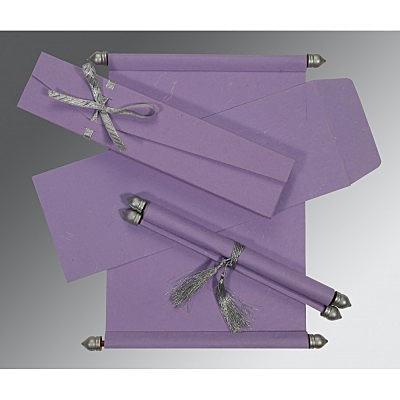 Purple Handmade Silk Wedding Card : SC-5001P - 123WeddingCards