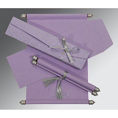 Purple Handmade Silk Wedding Card : SC-5002O - 123WeddingCards