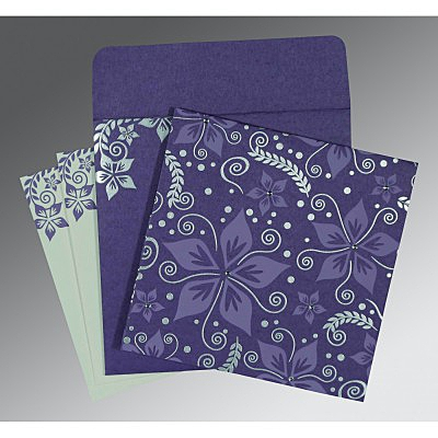 Purple Matte Floral Themed - Screen Printed Wedding Invitations : D-8240B - 123WeddingCards