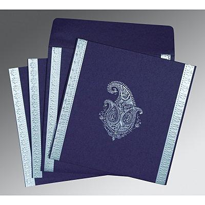 Purple Matte Paisley Themed - Embossed Wedding Invitations : SO-8231K - 123WeddingCards