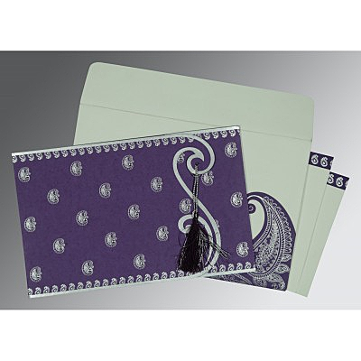 Purple Matte Paisley Themed - Screen Printed Wedding Invitation : C-8252B - 123WeddingCards