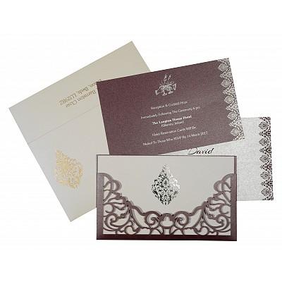 Purple Shimmery Damask Themed - Laser Cut Wedding Invitations : S-8262B - 123WeddingCards