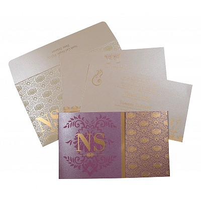 Purple Shimmery Damask Themed - Screen Printed Wedding Invitation : D-8261A - 123WeddingCards