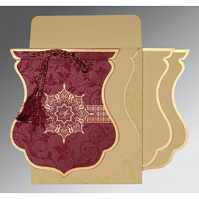 Purple Shimmery Floral Themed - Screen Printed Wedding Card : C-8229K - 123WeddingCards