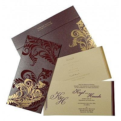 Purple Shimmery Floral Themed - Screen Printed Wedding Invitations : C-8259F - 123WeddingCards