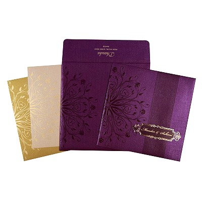 Purple Shimmery Foil Stamped Wedding Invitations : W-1690 - 123WeddingCards