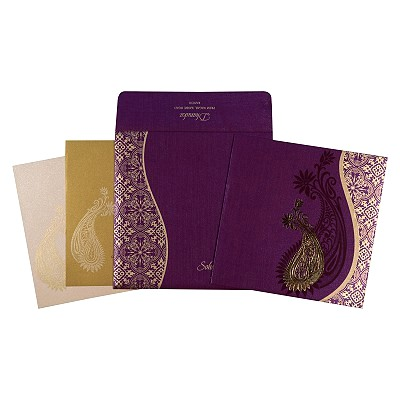 Purple Shimmery Paisley Themed - Foil Stamped Wedding Card : C-1735 - 123WeddingCards