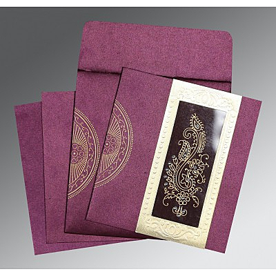 Purple Shimmery Paisley Themed - Foil Stamped Wedding Invitation : W-8230K - 123WeddingCards