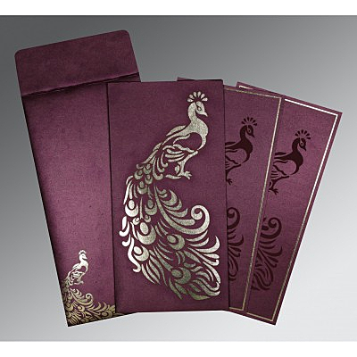 Purple Shimmery Peacock Themed - Laser Cut Wedding Invitation : IN-8255G - 123WeddingCards