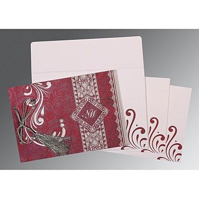 Purple Shimmery Screen Printed Wedding Card : RU-8223J - 123WeddingCards