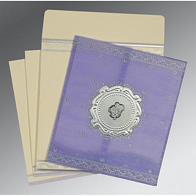 Purple Wooly Embossed Wedding Invitations : C-8202S - 123WeddingCards