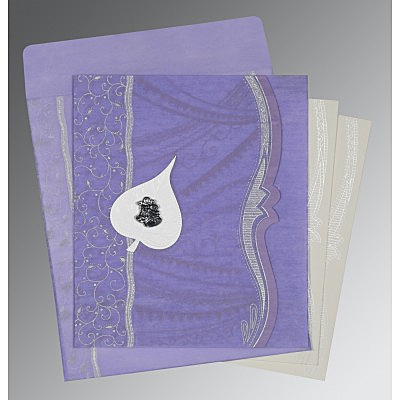 Purple Wooly Embossed Wedding Card : C-8210N - 123WeddingCards