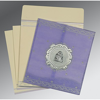 Purple Wooly Embossed Wedding Invitations : G-8202S - 123WeddingCards