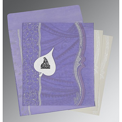 Purple Wooly Embossed Wedding Card : G-8210N - 123WeddingCards