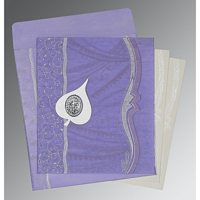 Purple Wooly Embossed Wedding Card : I-8210N - 123WeddingCards