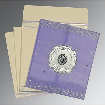 Purple Wooly Embossed Wedding Invitations : RU-8202S - 123WeddingCards