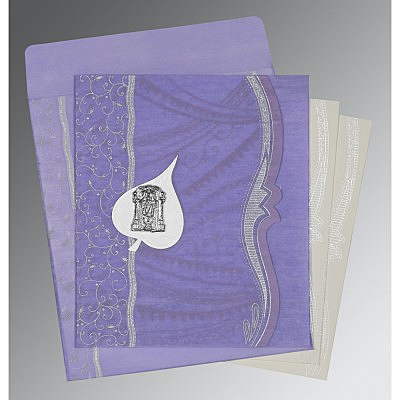 Purple Wooly Embossed Wedding Card : SO-8210N - 123WeddingCards