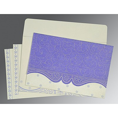 Purple Wooly Embossed Wedding Invitations : W-8221E - 123WeddingCards