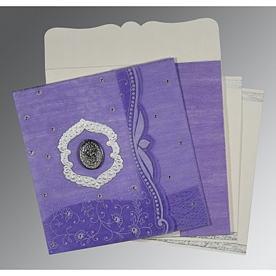 Purple Wooly Floral Themed - Embossed Wedding Card : I-8209C - 123WeddingCards