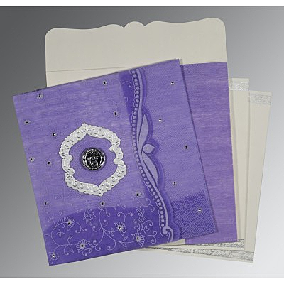 Purple Wooly Floral Themed - Embossed Wedding Card : S-8209C - 123WeddingCards