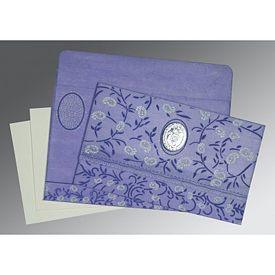 Purple Wooly Floral Themed - Glitter Wedding Card : RU-8206A - 123WeddingCards