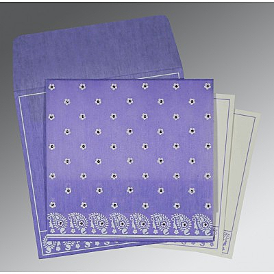 Purple Wooly Floral Themed - Screen Printed Wedding Card : I-8218H - 123WeddingCards