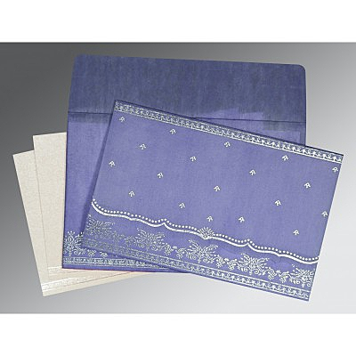 Purple Wooly Foil Stamped Wedding Invitations : D-8241D - 123WeddingCards