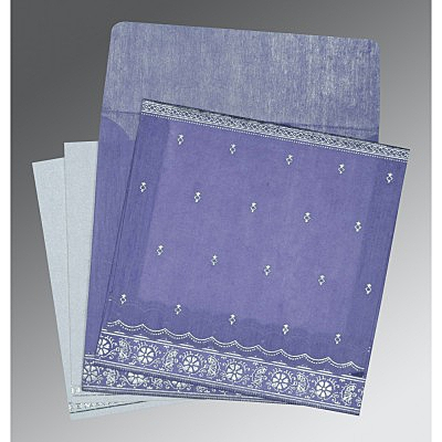 Purple Wooly Foil Stamped Wedding Card : G-8242C - 123WeddingCards