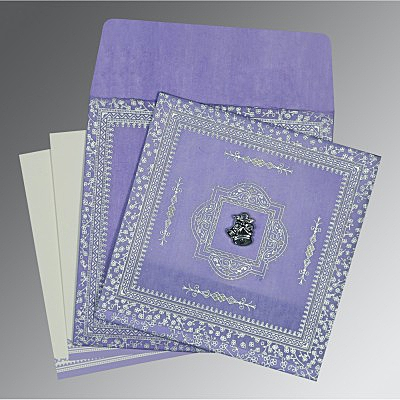 Purple Wooly Glitter Wedding Card : C-8205F - 123WeddingCards