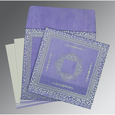 Purple Wooly Glitter Wedding Card : D-8205F - 123WeddingCards