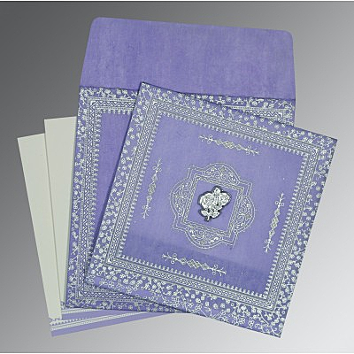 Purple Wooly Glitter Wedding Card : I-8205F - 123WeddingCards