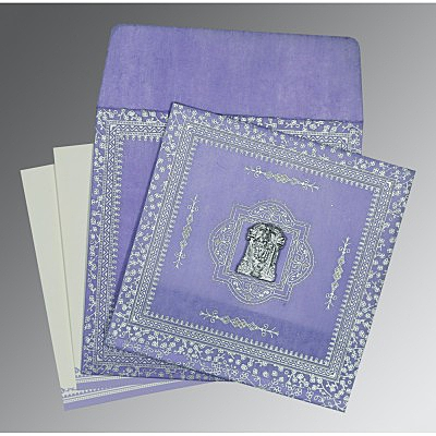 Purple Wooly Glitter Wedding Card : SO-8205F - 123WeddingCards