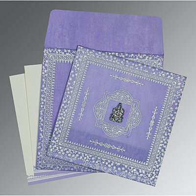 Purple Wooly Glitter Wedding Card : W-8205F - 123WeddingCards