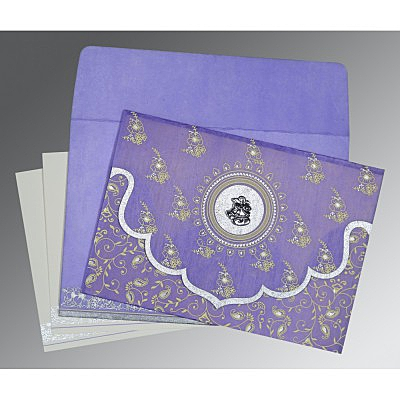 Purple Wooly Screen Printed Wedding Invitation : C-8207D - 123WeddingCards