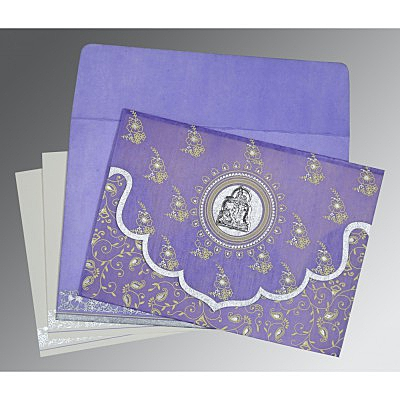 Purple Wooly Screen Printed Wedding Invitations : G-8207D - 123WeddingCards