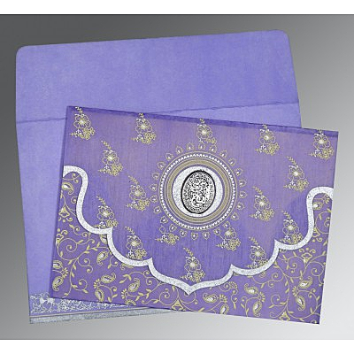 Purple Wooly Screen Printed Wedding Invitation : I-8207D - 123WeddingCards