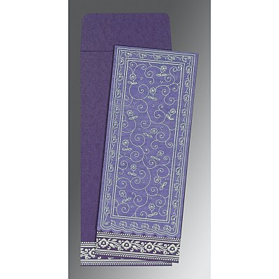 Purple Wooly Screen Printed Wedding Invitation : RU-8220P - 123WeddingCards