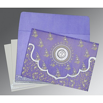 Purple Wooly Screen Printed Wedding Invitation : S-8207D - 123WeddingCards