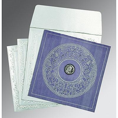 Purple Wooly Screen Printed Wedding Card : S-8214O - 123WeddingCards