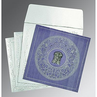 Purple Wooly Screen Printed Wedding Invitations : SO-8214O - 123WeddingCards